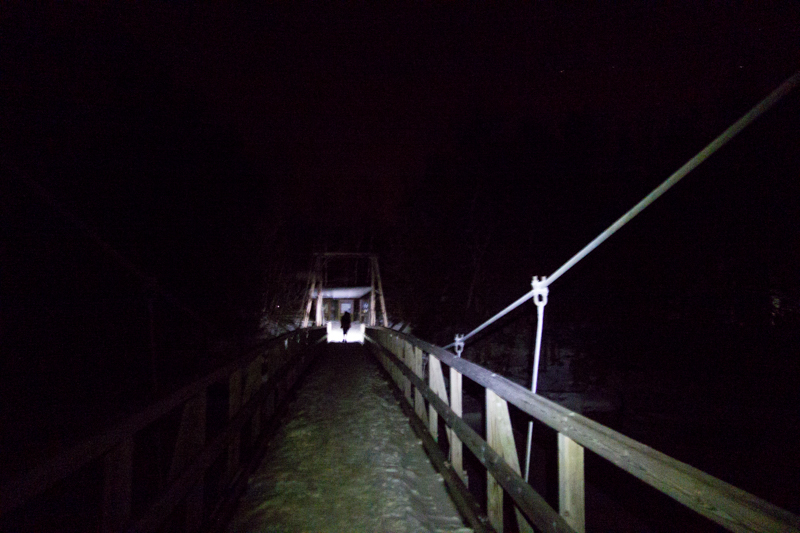 Suspension bridge in the dark