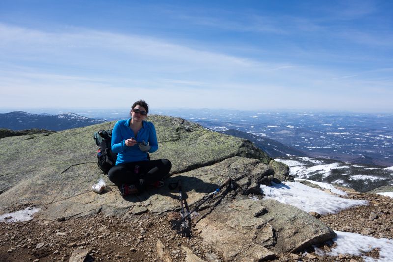 Taking a break above treeline without eight layers, no big deal