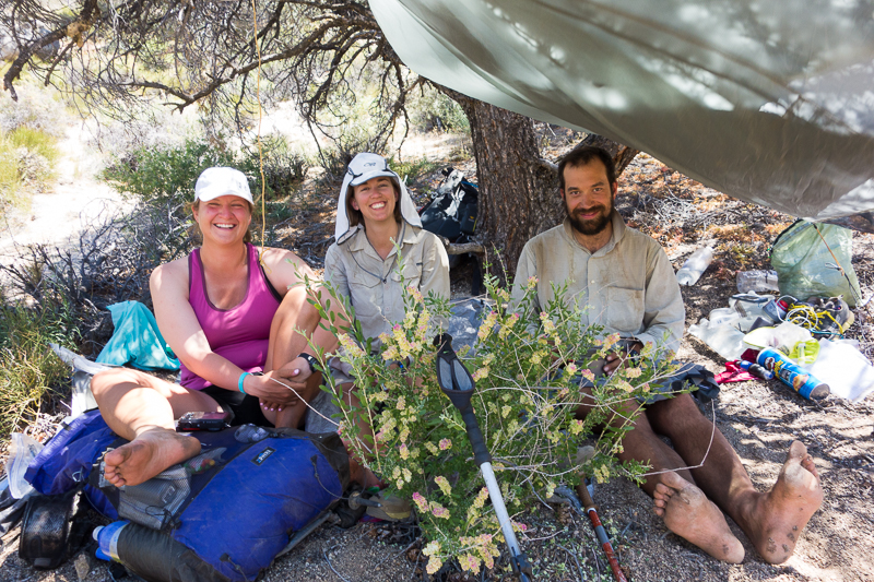Huddling under the one tree with shade for miles, and we still had to add a tarp to fit