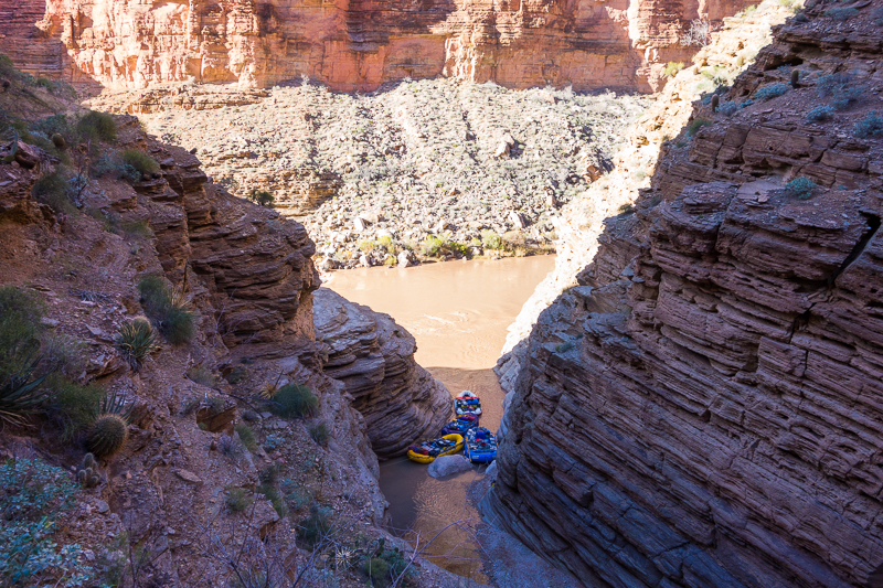 Our boats at the mouth of the canyon